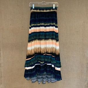 NWT Anthropologie Patrizia Ruffled Maxi Skirt Blue